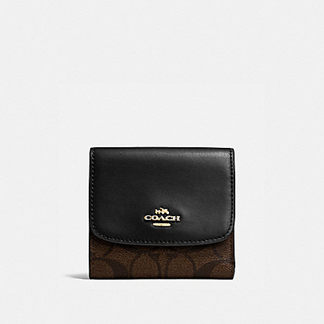 COACH SMALL WALLET IN SIGNATURE CANVAS - BROWN/BLACK/IMITATION GOLD - f87589