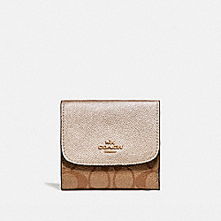 SMALL WALLET IN SIGNATURE COATED CANVAS - LIGHT GOLD/KHAKI - COACH F87589