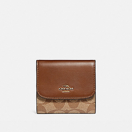 COACH SMALL WALLET IN SIGNATURE COATED CANVAS - LIGHT GOLD/KHAKI - f87589