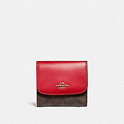 SMALL WALLET IN SIGNATURE CANVAS - LIGHT GOLD/BROWN - COACH F87589