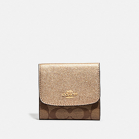 COACH SMALL WALLET IN SIGNATURE CANVAS - KHAKI/ROSE GOLD/LIGHT GOLD - F87589