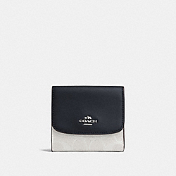 SMALL WALLET IN SIGNATURE CANVAS - CHALK/MIDNIGHT/SILVER - COACH F87589