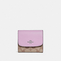 SMALL WALLET IN SIGNATURE CANVAS - KHAKI/JASMINE/SILVER - COACH F87589
