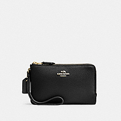 COACH DOUBLE CORNER ZIP WALLET IN POLISHED PEBBLE LEATHER - IMITATION GOLD/BLACK - F87590