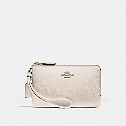 DOUBLE CORNER ZIP WRISTLET - CHALK/IMITATION GOLD - COACH F87590