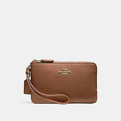 COACH DOUBLE CORNER ZIP WALLET IN POLISHED PEBBLE LEATHER - LIGHT GOLD/SADDLE 2 - f87590