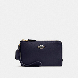 COACH DOUBLE CORNER ZIP WALLET IN POLISHED PEBBLE LEATHER - IMITATION GOLD/MIDNIGHT - F87590