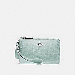 COACH F87590 - DOUBLE CORNER ZIP WALLET IN POLISHED PEBBLE LEATHER SILVER/AQUA