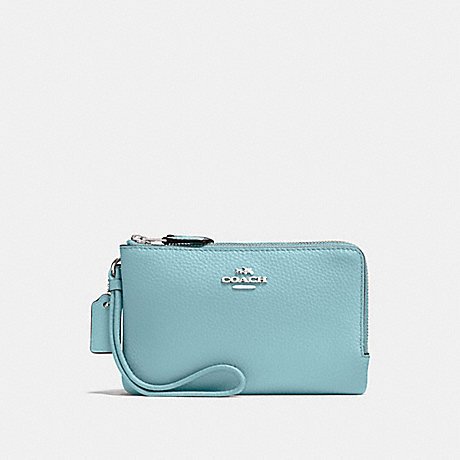 COACH DOUBLE CORNER ZIP WRISTLET - CLOUD/SILVER - F87590