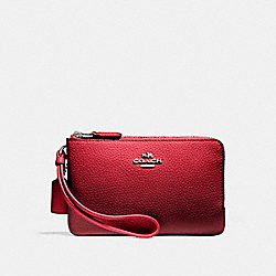 DOUBLE CORNER ZIP WRISTLET - SILVER/WATERMELON - COACH F87590