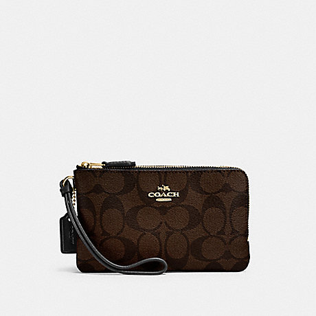 COACH DOUBLE CORNER ZIP WRISTLET IN SIGNATURE CANVAS - BROWN/BLACK/LIGHT GOLD - F87591