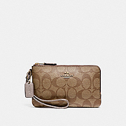 DOUBLE CORNER ZIP WRISTLET - LIGHT GOLD/KHAKI - COACH F87591