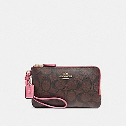 COACH DOUBLE CORNER ZIP WRISTLET - LIGHT GOLD/BROWN ROUGE - F87591