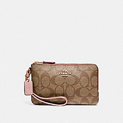 DOUBLE CORNER ZIP WRISTLET IN SIGNATURE CANVAS - KHAKI/PETAL/SILVER - COACH F87591