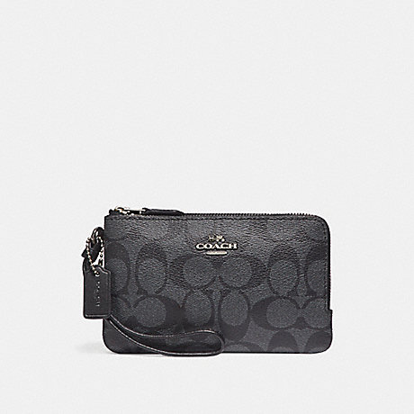 COACH DOUBLE CORNER ZIP WRISTLET - SILVER/BLACK SMOKE - f87591