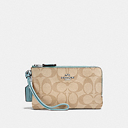 DOUBLE CORNER ZIP WRISTLET IN SIGNATURE CANVAS - SVNKA - COACH F87591