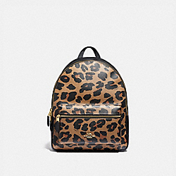 MEDIUM CHARLIE BACKPACK WITH LEOPARD PRINT - IM/NATURAL - COACH F87754