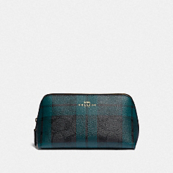 COSMETIC CASE 17 IN SIGNATURE CANVAS WITH FIELD PLAID PRINT - IM/BLACK/DEEP OCEAN MULTI - COACH F87791