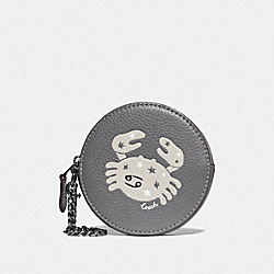 ROUND COIN CASE WITH CANCER - QB/HEATHER GREY - COACH F87808