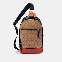 GRAHAM PACK IN COLORBLOCK SIGNATURE CANVAS - QB/TAN TERRACOTTA - COACH F87820
