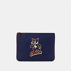 LARGE POUCH WITH PARTY CAT MOTIF - QB/CADET MULTI - COACH F87838