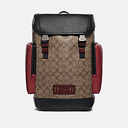 RANGER BACKPACK IN COLORBLOCK SIGNATURE CANVAS - QB/TAN SOFT RED - COACH F87860
