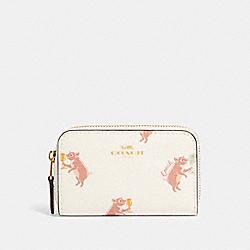 ZIP AROUND COIN CASE WITH PARTY PIG PRINT - IM/CHALK MULTI - COACH F87882