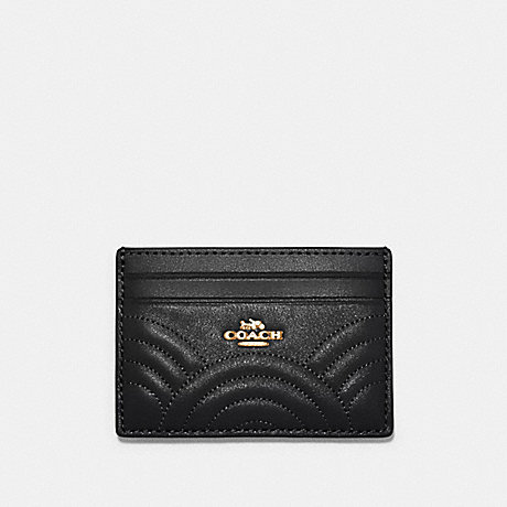 COACH CARD CASE WITH ART DECO QUILTING - IM/BLACK - F87883
