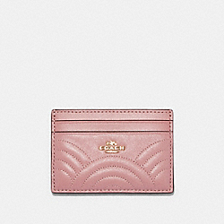 CARD CASE WITH ART DECO QUILTING - IM/PINK - COACH F87883