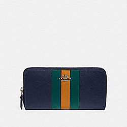 ACCORDION ZIP WALLET WITH VARSITY STRIPE - SV/CADET MULTI - COACH F87889