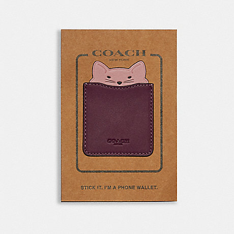 COACH PHONE POCKET STICKER WITH PARTY CAT - DARK BERRY/PINK - F87908