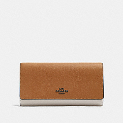 TRIFOLD WALLET IN COLORBLOCK - QB/LIGHT SADDLE MULTI - COACH F87932