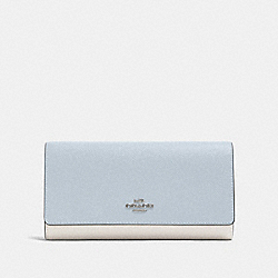 TRIFOLD WALLET IN COLORBLOCK - SV/PALE BLUE MULTI - COACH F87932
