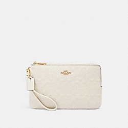 DOUBLE ZIP WALLET IN SIGNATURE LEATHER - IM/CHALK - COACH F87934