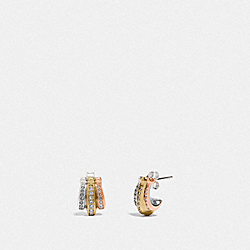 MULTI SIGNATURE HUGGIE EARRINGS - MULTICOLOR - COACH F87941