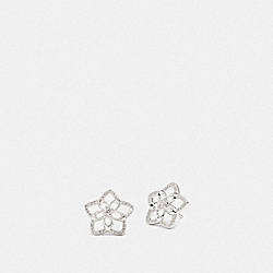 SIGNATURE FLORAL STUD EARRINGS - SV/CLEAR - COACH F87954