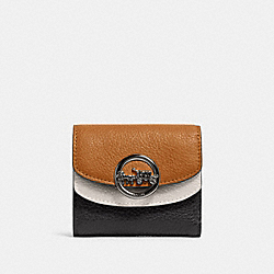 JADE SMALL DOUBLE FLAP WALLET IN COLORBLOCK - QB/LIGHT SADDLE MULTI - COACH F88002