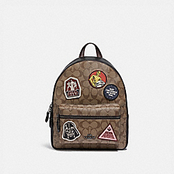 STAR WARS X COACH MEDIUM CHARLIE BACKPACK IN SIGNATURE CANVAS WITH PATCHES - QB/KHAKI MULTI - COACH F88016