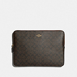 LAPTOP SLEEVE IN SIGNATURE CANVAS - IM/BROWN/BLACK - COACH F88040