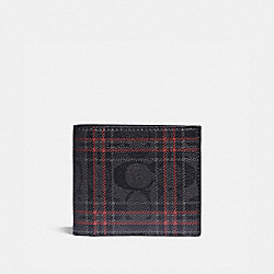 3-IN-1 WALLET IN SIGNATURE CANVAS WITH SHIRTING PLAID PRINT - QB/BLACK RED MULTI - COACH F88071