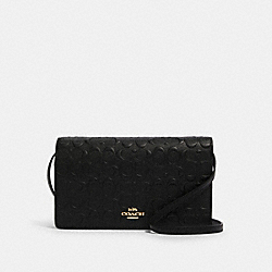 HAYDEN FOLDOVER CROSSBODY CLUTCH IN SIGNATURE LEATHER - IM/BLACK - COACH F88079