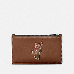 STAR WARS X COACH ZIP CARD CASE WITH EWOK - QB/DARK SADDLE - COACH F88108