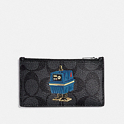 STAR WARS X COACH ZIP CARD CASE IN SIGNATURE CANVAS WITH POWER DROID - QB/CHARCOAL - COACH F88109
