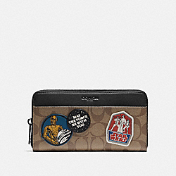STAR WARS X COACH ACCORDION WALLET IN SIGNATURE CANVAS WITH PATCHES - QB/TAN - COACH F88115