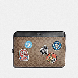 STAR WARS X COACH LAPTOP CASE IN SIGNATURE CANVAS WITH PATCHES - QB/TAN - COACH F88117