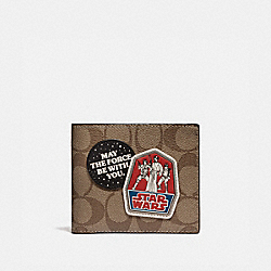 STAR WARS X COACH 3-IN-1 WALLET IN SIGNATURE CANVAS WITH PATCHES - QB/TAN - COACH F88118