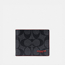 ID BILLFOLD WALLET IN SIGNATURE CANVAS - QB/CHARCOAL SPORT RED - COACH F88123