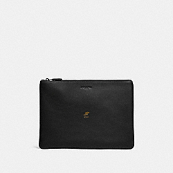 LUNAR NEW YEAR LARGE POUCH WITH RAT - QB/BLACK - COACH F88128