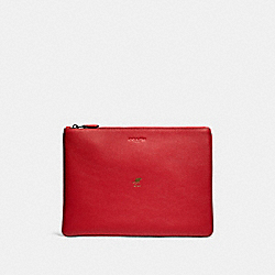 LUNAR NEW YEAR LARGE POUCH WITH RAT - QB/TRUE RED - COACH F88128