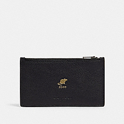 LUNAR NEW YEAR ZIP CARD CASE WITH RAT - QB/BLACK - COACH F88130